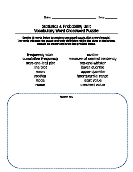 Statistics and Probability Crossword Puzzle