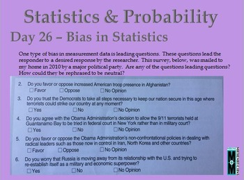 Statistics and Probability Daily Math Slides