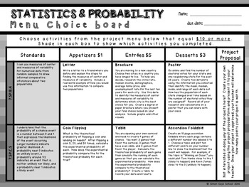 7th Grade Statistics and Probability Choice Board – Enrichment Math Menu