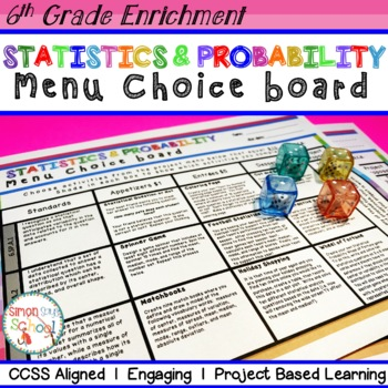6th grade common core statistic and data teaching resources 6th grade statistics and probability choice board enrichment math menu solutioingenieria Choice Image