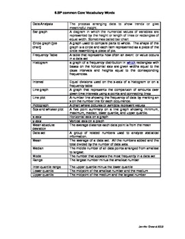 Statistics and Probability vocabulary words and assessment