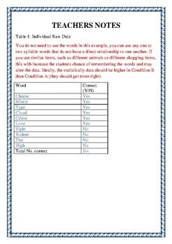 Statistics and Psychology Application - With Teachers Notes
