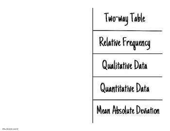 Statistics and Vocabulary Foldable