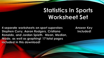 Statistics in Sports Worksheet Set (Stephen Curry, Aaron Rodgers, and more!)