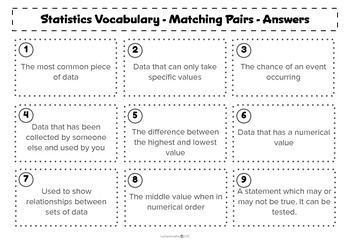 Statistics key vocabulary - matching activity