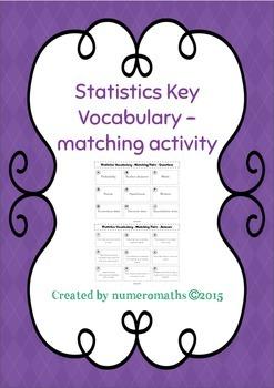 Statistics key vocabulary - matching activity