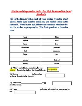 Stative and Progressive Verb Practice Sheet