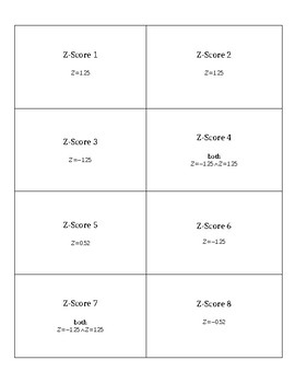 Stats Matching Game: Z-Score Normal Probability
