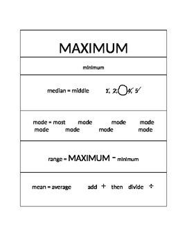 Stats Vocabulary Chart