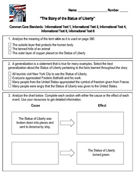 Statue of Liberty Assessment Reading Street Third Grade