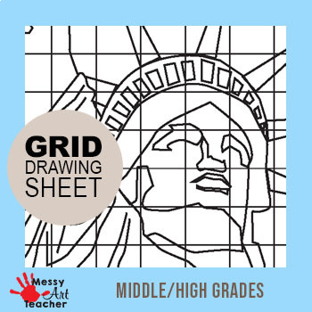 Statue of Liberty Grid Drawing Worksheet for Middle/High Grades