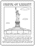 Statue of Liberty Informational Text Coloring Page Craft or Poster, New York