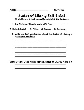 Statue of Liberty MODIFIED Exit Ticket and Rubric Bundle