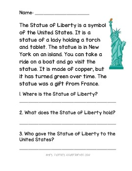 Statue of Liberty Passage With Questions