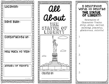 picture relating to Printable Statue of Liberty Template referred to as Statue of Freedom Scientific tests Task Brochure Template