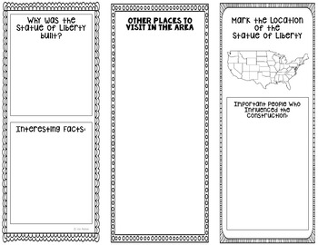 Statue of Liberty Research Project Brochure Template, Geography, History