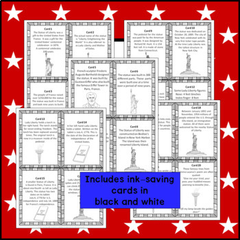 Statue of Liberty Scavenger Hunt grades 3 - 5