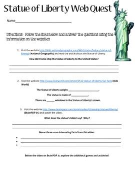 Statue of Liberty WebQuest