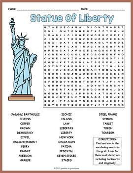 Statue of Liberty Word Search Worksheet by Puzzles to ...