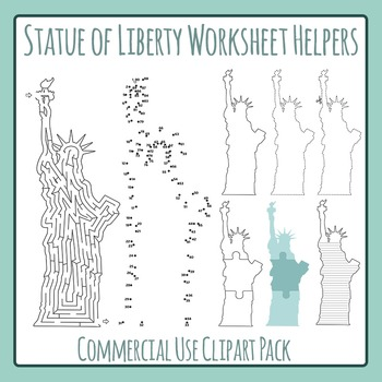 Statue of Liberty Worksheet Helper Clip Art Pack for Commercial Use