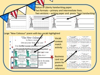 """Statue of Liberty's """"The New Colossus"""": Mini poem, vocab match and writing paper"""