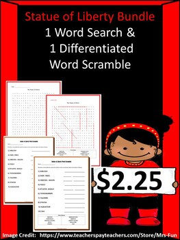 Statue of Liiberty Bundle ( 1 Word Search & 1 Word Scramble)