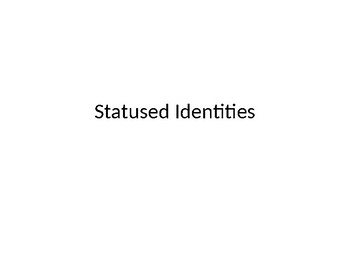 """Statused Identities-use with questions from the movie """"Crash"""""""