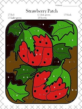 """Stawberry Patch (Color by """"number"""") addition"""