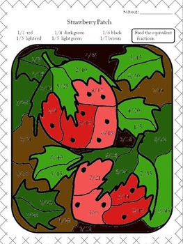 "Stawberry Patch (Color by ""number"") equivalent fractions"