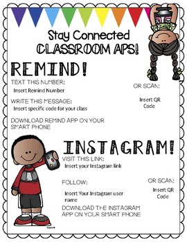Stay Connected (Classroom Remind/Instagram)