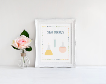 Stay Curious Beakers Printable Poster