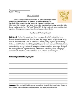 Stay gold_The Outsiders Journal Entry Prompt