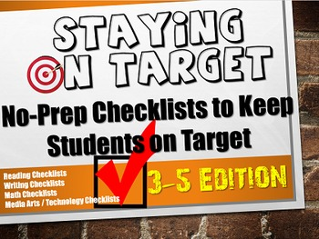 No Prep Stay on Target Reading, Writing, Math Checklists for Grades 3, 4, and 5