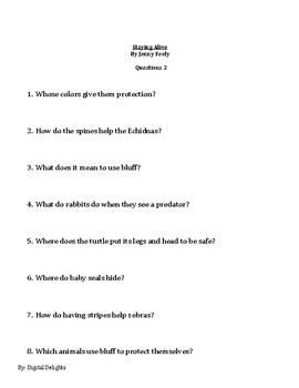 Staying Alive by Jenny Feely Reading Comprehension Questions
