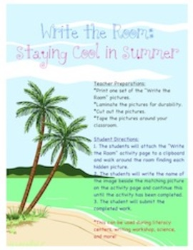 Staying Cool in Summer - Write the Room Activity