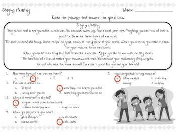 Staying Healthy - Reading Passage - Practice Worksheet