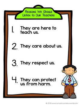 Staying Safe at School, Guidance Lesson for Grades K-1