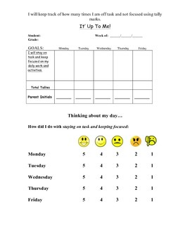 Staying on Task Behavior Sheet