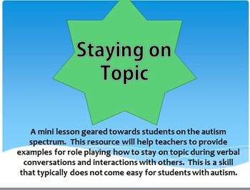 Staying on Topic When Having A Conversation [for students