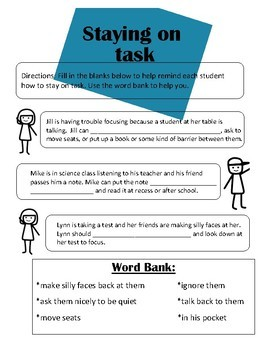 Staying on task (social skills lesson)