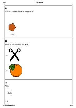 Std-1 common core Math worksheet