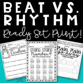 Music Worksheets - Steady Beat and Rhythm {Ready, Set, Print!}