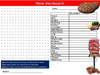 Steak Meat Wordsearch Puzzle Sheet Keywords Food Science Nutrition