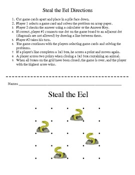 Steal the Eel - A 2-Player Game to Practice Solving Equations with Variables