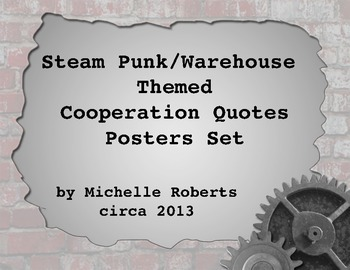 Steam Punk Themed Cooperation Quotes Posters Set