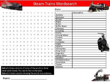Steam Trains Wordsearch Sheet Starter Activity Keywords Transport
