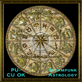Steampunk Astrology Wheel Element Transparent PSD Template