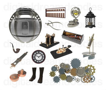 Steampunk Clip Art - Science Fiction Digital Graphics