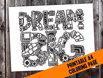 "Steampunk ""Dream Big"" Intricate Coloring Page - digital download printable PDF"