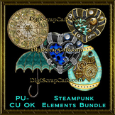 Steampunk Elements Bundle Transparent Full Size PSD Template Commercial Use